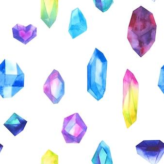 Bunte kristalle des nahtlosen musteraquarells lokalisiert auf weiß.