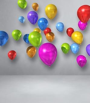 Bunte luftballons-gruppe auf einer weißen wand. 3d-darstellung rendern