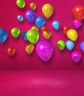 Bunte luftballons gruppieren sich an einer rosa wand. 3d-darstellung rendern