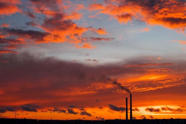 Bunte magische sonnenuntergang. dächer von stadthäusern bei sonnenaufgang. vögel, die in den himmel fliegen. dunkler rauch aus dem rohr des wärmekraftwerks.