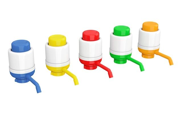 Bunte manuelle wasserpumpen für wasserflaschen auf weißem hintergrund. 3d-rendering.