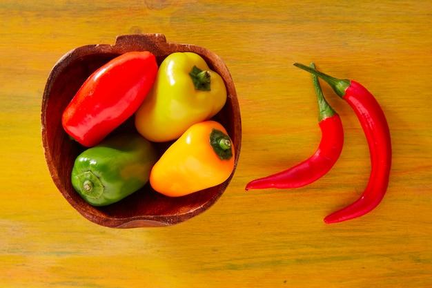 Bunte mexikanische paprikapfeffer im gelb