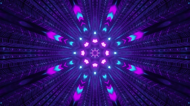 Bunte neonlichter im dunklen tunnel 4k uhd 3d-darstellung