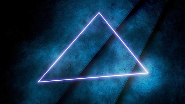Bunte neonlichter und dreiecksmuster, abstrakter hintergrund. eleganter und luxuriöser dynamischer club-stil, 3d-illustration
