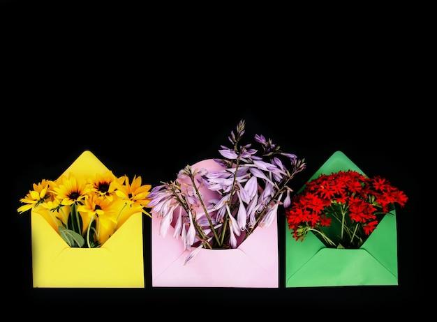 Bunte papierumschläge mit frischen hellen gartenblumen auf schwarzem hintergrund. festliche blumenvorlage. grußkarten-design. ansicht von oben.