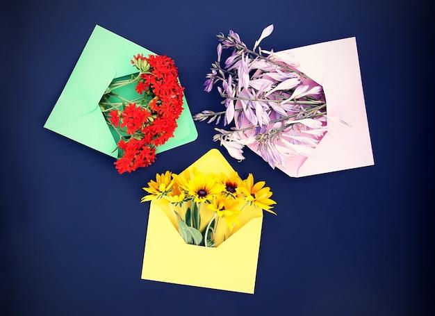 Bunte papierumschläge mit gartenblumen auf dunklem hintergrund. campanula, lychnis und rudbeckia oder schwarzäugige susan-pflanzen. festliche blumenvorlage. grußkarten-design. ansicht von oben.