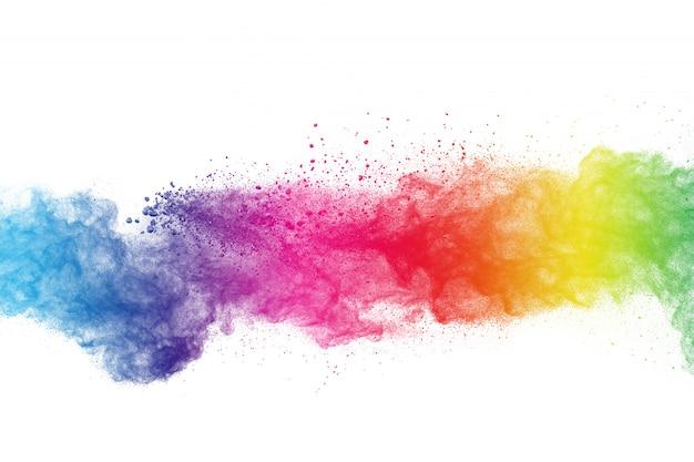 Bunte puderexplosion auf weißem hintergrund. abstraktes pastellfarbstaubpartikelspritzen.