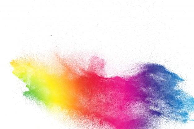 Bunte pulverexplosion. abstraktes pastellfarbstaubpartikelspritzen.