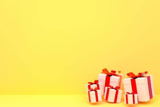 Bunte realistische geschenkbox des 3d-renderings, gelber hintergrund mit buntem bogen auf leerem raum für partei