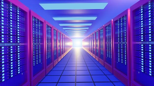 Bunte reihe von hosting-server-racks in blau-rosa farbe. perspektivisches ansichtsbild. 3d-rendering-illustrationsbild.