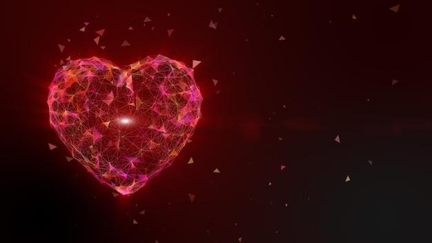 Bunte rosa gelbe herzformpunkt- und linienanimation, lichtstrahlstrahleffekt. valentinstag urlaub animation - high-tech. 3d-rendering.