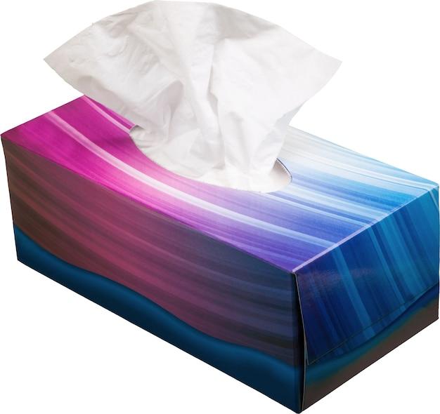 Bunte schachtel mit papierserviette isoliert auf weiß