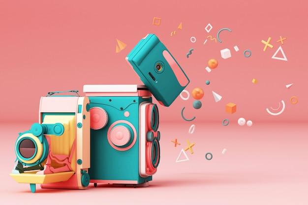 Bunte weinlesekamera, die durch memphis-muster auf einem rosa hintergrund 3d überträgt
