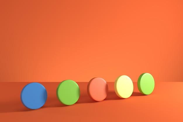 Bunte zylinder auf orange hintergrund. minimale konzeptidee. 3d render.