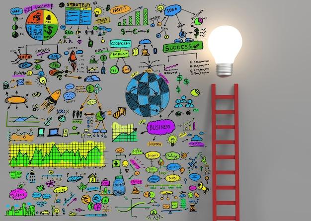 Bunter businessplan mit glühbirne