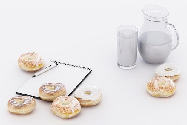 Bunter donut und kaffeetasse mit pastellweißem 3d-rendering