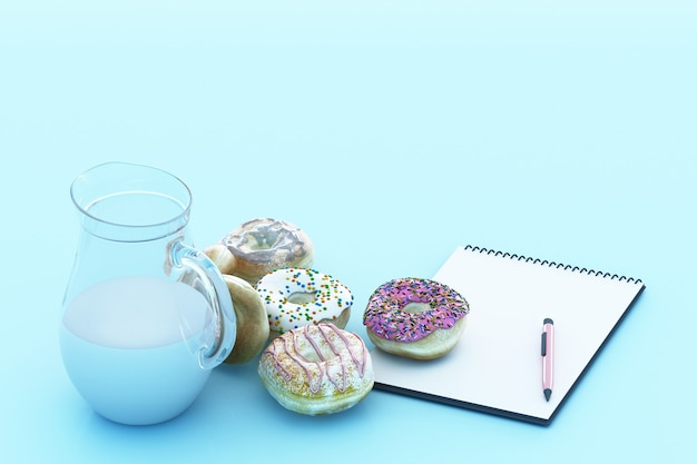Bunter donut und milchbecher mit pastellblauem hintergrund. 3d-rendering