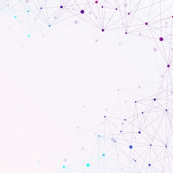 Bunter grafischer hintergrund mit verbundener linie und punkten. molekül- und kommunikationshintergrund für ihr design und ihren text. illustration.
