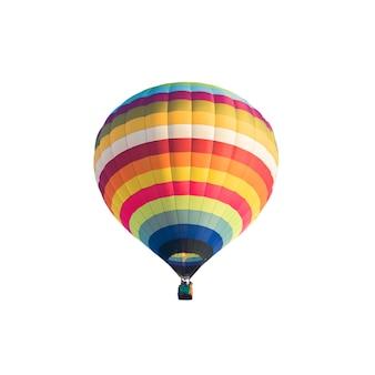 Bunter heißluftballon lokalisiert auf weißem hintergrund