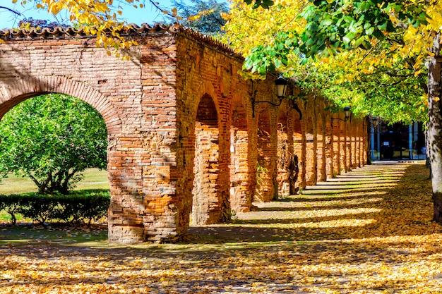 Bunter herbst und alte backsteinmauer im park in toulouse