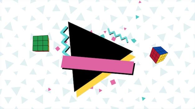 Bunter memphis-hintergrund, abstrakte geometrische formen des dreiecks. eleganter und luxuriöser dynamischer stil für geschäfts- und unternehmensvorlagen, 3d-illustration