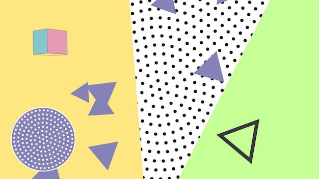 Bunter memphis-hintergrund, abstrakte geometrische formen. eleganter und luxuriöser dynamischer stil für geschäfts- und unternehmensvorlagen, 3d-illustration