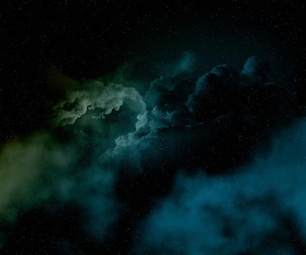 Bunter nächtlicher himmel mit sternen und nebelfleck