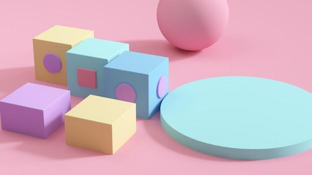 Bunter satz der abstrakten geometrischen form 3d auf rosa wiedergabe des hintergrundes 3d
