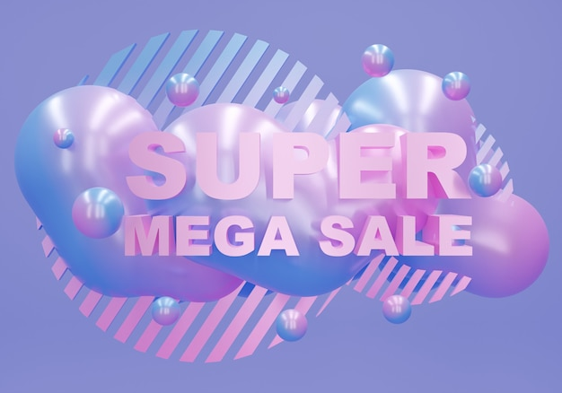Bunter super-mega-verkaufshintergrund. 3d-rendering