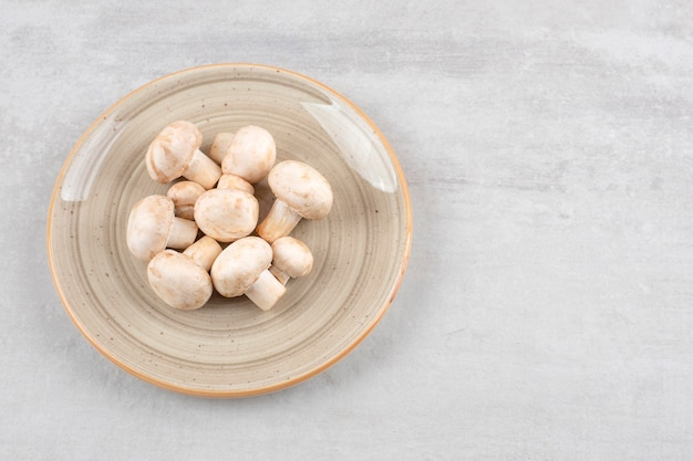Bunter teller mit frischen ungekochten pilzen auf stein.