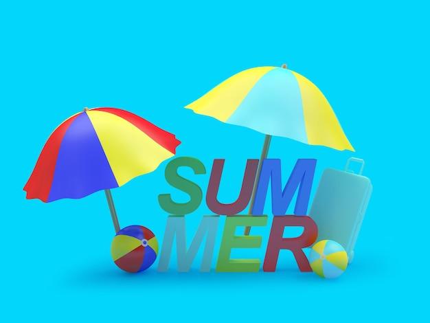 Bunter text sommer mit sonnenschirmen