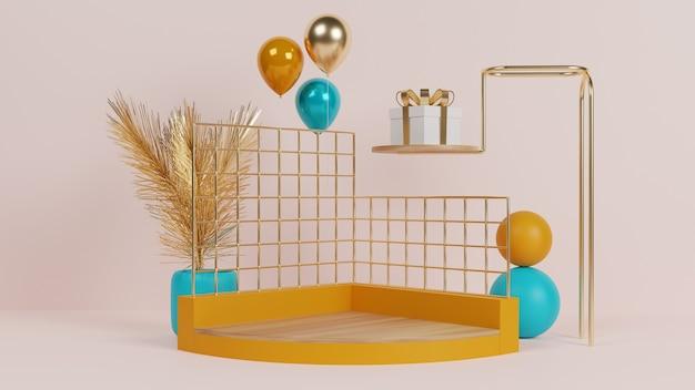 Buntes abstraktes podium mit ballon und geschenkbox