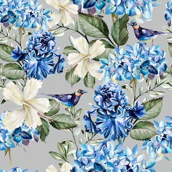 Buntes aquarellmuster mit blumenhortensie, hibiskus, iris und vogel. illustration