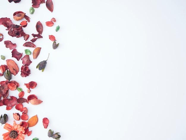 Buntes blütenblatt des potpourri-hintergrunds der getrockneten blumen.