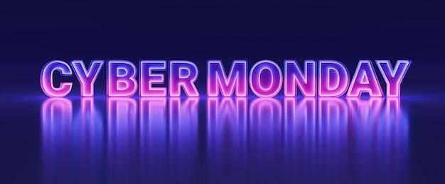 Buntes cyber monday leuchtendes neonbanner, futuristisches online-shopping-shop-verkaufsförderungsschild mit unendlicher 3d-darstellung im spiegellichtstil