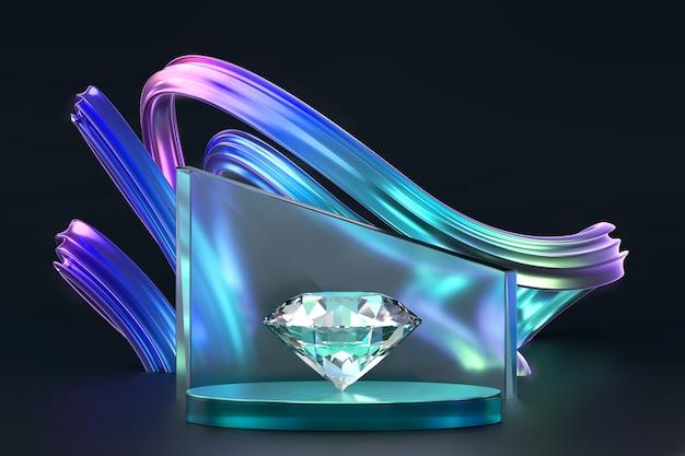 Buntes diamantkristall-3d-rendering