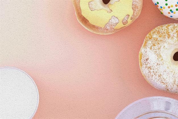 Buntes donut-grafikpixel auf pastellhintergrund. 3d-rendering