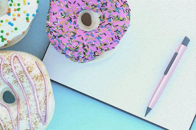 Buntes donut-grafikpixel mit zwischenablage auf blauem hintergrund. 3d-rendering