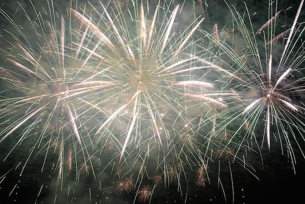 Buntes feiertagsfeuerwerk auf dem schwarzen himmelhintergrund.