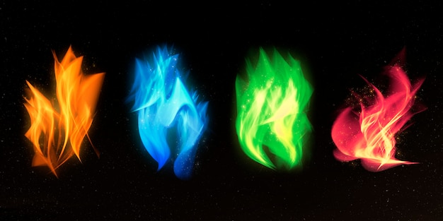 Buntes feuerflammen-grafikelement-set