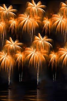 Buntes feuerwerk. feuerwerkskörper sind eine klasse von explosiven pyrotechnischen geräten, die für ästhetische und unterhaltungszwecke verwendet werden. sichtbares rauschen durch schwaches licht, weichzeichner, flacher dof, leichte bewegungsunschärfe