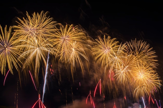Buntes feuerwerk. feuerwerkskörper sind eine klasse von explosiven pyrotechnischen geräten, die zu unterhaltungszwecken verwendet werden. sichtbares rauschen durch schwaches licht, weichzeichner, flacher dof, leichte bewegungsunschärfe