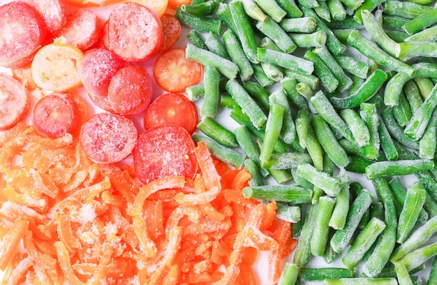 Buntes gemüsetomaten bohnen paprika gefroren