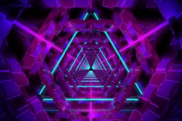 Buntes geometrisches leuchtendes trichterportal des ultravioletten neons