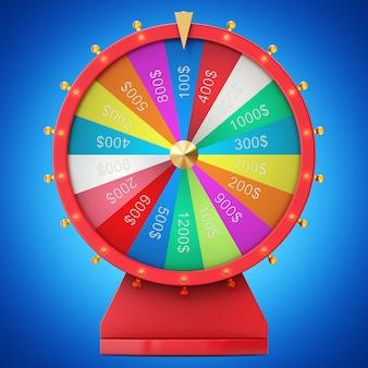 Buntes glücks- oder glücksrad. realistisch drehendes glücksrad. radvermögen lokalisiert auf blauem farbtonhintergrund, 3d illustration