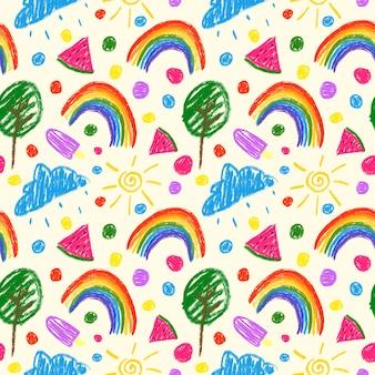 Buntes kindisches nahtloses muster auf elfenbeinfarbenem hintergrund buntstifte zeichnen wiederholungsdruck