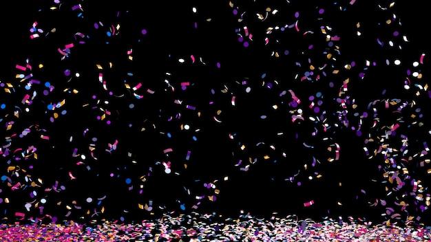 Buntes konfetti auf schwarzem hintergrund