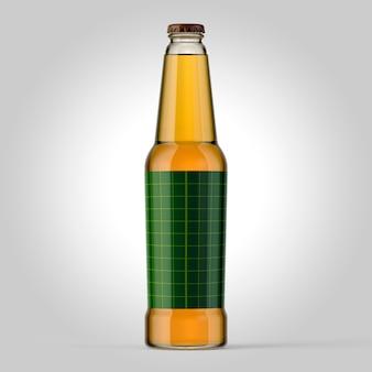 Buntes modell von flaschen auf einfachem hintergrund. bierglasmodell mit grünem aufkleber