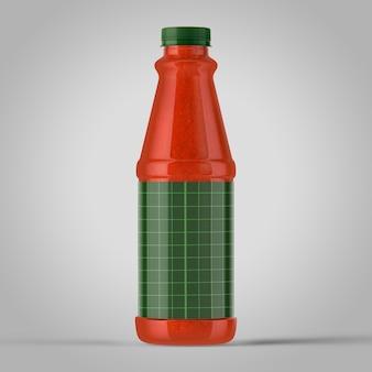 Buntes modell von flaschen auf einfachem hintergrund. einfache ketchup-plastikflasche