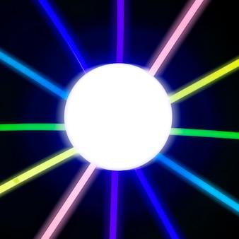 Buntes neonlicht, das von glühendem kreis ausstrahlt